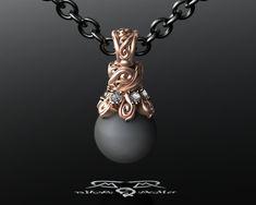 Designer Black Tahitian Pearl Pendant With Ideal by DeMerJewelry, $5317.00