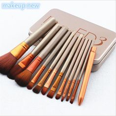 12pcs/lot maquiagem makeup brushes professional beauty make up brush set/kit NAKE 3 cosmetic foundation brush Professional Makeup Brush Set