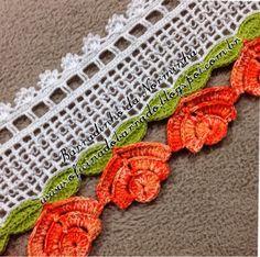 Crochet Boarders, Crochet Edging Patterns, Crochet Designs, Embroidery Patterns, Stitch Patterns, Crochet Flower Tutorial, Crochet Flowers, Thread Crochet, Diy Crochet
