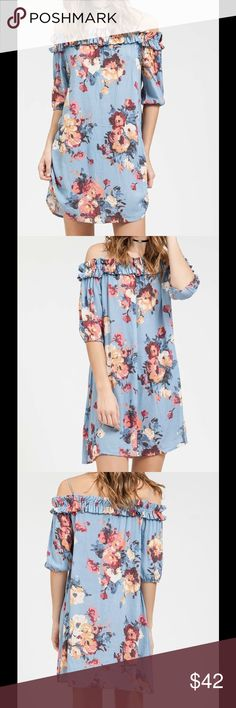 """🆕 ANNA DRESS Floral printed woven dress.can be worn on or off shoulders. Lightweight and perfect for the spring.  Fit:Runs true to size  Size: Small Bust-34"""" Length-32""""  Medium Bust-36"""" Length-33""""  Large Bust-38"""" Length-34""""  Material:100%Rayon  Care: Hand Wash Dresses Mini"""