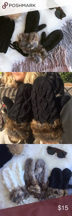 - FUR CABLE KNIT MITTENS - Chunky cable knit mittens with faux fur cuffs and fleece lining and connecting tie.  Perfect for cozy fall walks!   100% polyester.  Scarves and hat in photos also for sale, create a bundle for 15% off! Mittens also available in tan & white. Claire Louise Boutique Accessories Gloves & Mittens