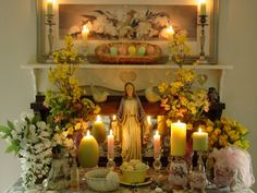 """Beautiful Ostara Altar. Ostara is closely associated and predates the Christian """"Easter"""" and celebrates spring and the Goddess of Spring, Eostra/Ostara"""