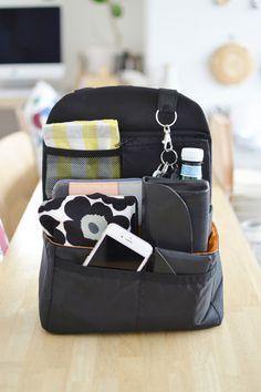 * リュックの中身を取り出しやすく収納 * | めがねとかもめと北欧暮らし What In My Bag, What's In Your Bag, Wooden Charging Station, Purse Organization, Soft Grunge, You Bag, My Bags, Diaper Bag, Backpacks