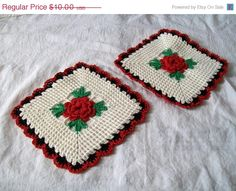 Etsy Christmas Sale Vintage Crocheted Pot by VintagePlusCrafts, $8.00