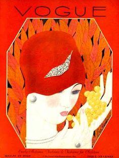 Art Deco Vogue cover by Georges Lepape Vogue Magazine Covers, Fashion Magazine Cover, Fashion Cover, Magazine Art, Vogue Vintage, Vintage Vogue Covers, Art Deco Posters, Poster Prints, Art Prints