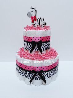 Safari rose chaud Diaper Cake Baby douche par LanasDiaperCakeShop