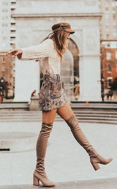 #fall #outfits  women's beige and grey floral long-sleeve mini dress and pair of brown leather chunky heeled knee high boots