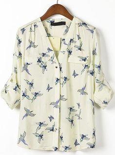 Beige V Neck Long Sleeve Birds Print Blouse - blouses, styles, off shoulder, loose, cotton, sari blouse *ad