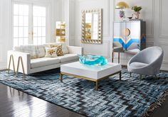 Lovely rug from Jonathan Adler.  Probably costs more than I would pay for a car.