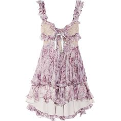 Alexander McQueen Ruffled printed silk-chiffon mini dress (185.880 RUB) ❤ liked on Polyvore featuring dresses, vestidos, tops, purple, lilac, purple mini dress, short fitted dresses, loose dress, purple cocktail dress and short purple dresses