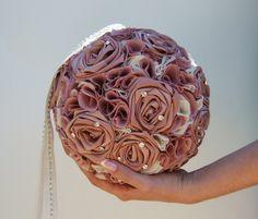 Extra Large Pomander Dusty Rose Wedding Decoration Kissing Ball Rhinestone on Ribbon Chain by SkylightCreations on Etsy