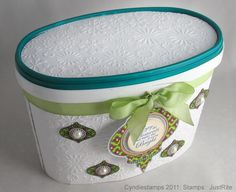 blue bonny ice cream container---great way to package cookies, treats, presents at christmas