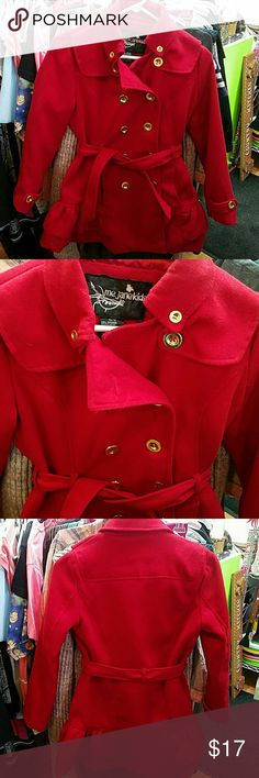 Girls Red Peacoat Girls Red Peacoat with Gold buttons. Ruffled bottom and waist tye. Super cute! Dressy but not too dressy.. could easily be worn every day. Very warm.   Your little one will love it!  I ship out the same day if ordered before 3pm and next day if ordered after. Me Jane Jackets & Coats