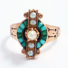Straight-Up & Attractive This Detailed 14K Rose Gold, Turquoise and Pearl Ring is Very Sweet, ca. 1880.