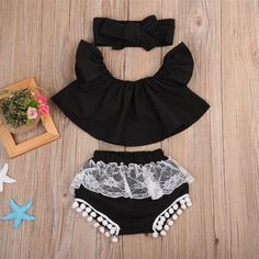 Baby Kids Girl Ruffle Off Shoulder Top Tank+Triangle shorts +Headband Outfit Sun suit Clothes Set Baby Kids Girl Ruffle Off Shoulder Top Tank+Triangle shorts +Headband Outfit Sun suit Clothes Set - Cute Adorable Baby Outfits Baby Outfits, Kids Outfits, Baby Girl Fashion, Fashion Kids, Fashion Clothes, Fashion 2016, Dress Fashion, Latest Fashion, Fashion Scarves