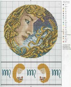Borduurpatroon Sterrenbeeld Kruissteek *X-Stitch Pattern Zodiac ~Serie 4-9: Maagd 24-08/23-09 *Virgo~