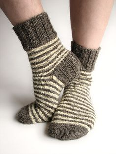 Striped Socks - 100% Natural Organic Wool - Hand Knitted from Hand Spun Undyed Wool Yarn on Etsy, $36.14