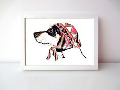 Pooch In Pucci - Dachshund Illustration In Pucci Head Scarf - Sausage Dog Illustration - Archival A4 - 8 x 11 Inches