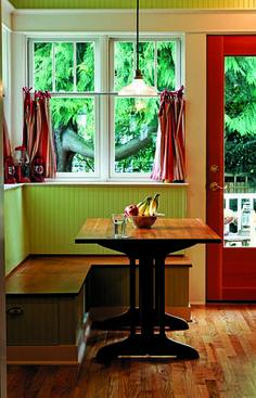 Bungalow Restoration The kitchen's cozy breakfast nook boasts hidden storage.The kitchen's cozy breakfast nook boasts hidden storage. Kitchen Banquette, Kitchen Benches, Dining Nook, Kitchen Decor, Nook Table, Dining Set, Diy Kitchen, Kitchen Ideas, Kitchen Design