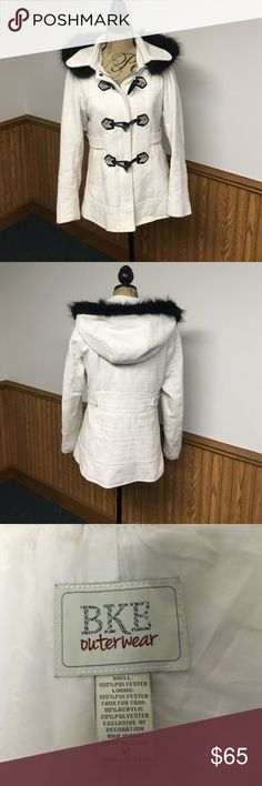 BUCKLE JACKET💙💙💙 Cream colored Buckle  jacket with fur lined hood. Size M. This jacket is in excellent condition but it is missing one button that is attaching the hood, shown in last picture . Easily replaced. Thank you for looking Angel😘😘😘 Buckle Jackets & Coats