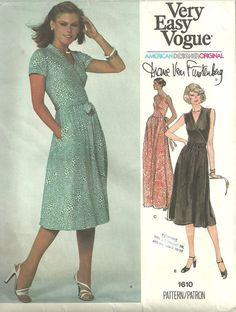Vintage Designer Sewing Pattern Vogue 1610 Wrap Dress By Diane von Furstenberg