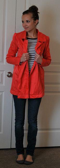 stripes and raincoat