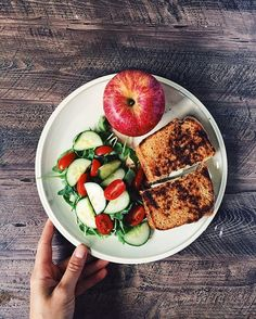 grilled cheese on my homemade whole wheat sourdough plus a side salad and an apple.
