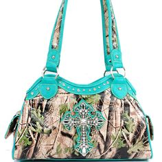 Western+Camouflage+Cross+Accent+Rhinestone+Bling+Purse+  SKU+CHF-0036+BLUE Color+Blue Dimension+14.5+*+9.5+*+5.5+inches