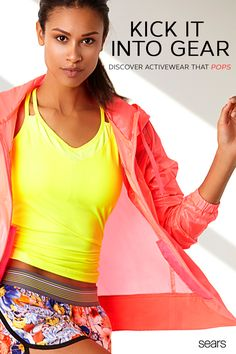 Mix and match your activewear with Sears's  selection of stylish workout gear. Add an extra layer of warmth to your workouts with this windbreaker jacket from Everlast. This sporty athletic jacket protects you from the elements when you're out on your morning run. Polish off the look with printed shorts and this women's athletic tank top. Crisscrossing spaghetti straps give this tank its cool look that's also breathable. Get the support and comfort you need, and discover more from Sears…
