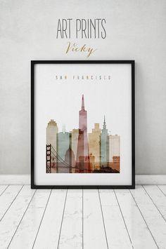 San Francisco aquarel print, poster, kunst aan de muur, San Francisco skyline, steden poster, typografie kunst, digitale aquarel, ART PRINTS VICKY.   KWALITEIT EN DETAILS ►Paper: EPSON Premium Glossy of Semigloss Photo Paper beste 5 sterren in 251 of 255 gr. ►Ink: Epson archivering professionele inkt voor kleurrijke, levendige prints die water zijn & fade-bestendig ►Posters laatste tot 98 jaar in een frame, of meer dan 200 jaar in een fotoalbum ►Dimensions: Selecteer de dimensies van uw ...