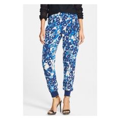 NEW Wayf Print Track Pants New without tags, shades of blue printed track pants with elastic waist. Side seam pockets. Also selling these in black. Purchased from Nordstrom Department store Wayf Pants Track Pants & Joggers