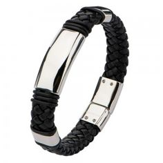Stainless Steel Black Leather Braided Bracelet