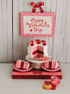 """Etsy Transaction - Miniature Valentine Cake With Pink And Red Hearts And A """"Happy Valentine's Day"""" Wall Hanging"""