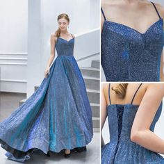 Fashion Hacks For Men Sparkly Ocean Blue Evening Dresses 2019 A-Line / Princess Spaghetti Straps Sequins Sleeveless Backless Sweep Train Formal Dresses Pretty Prom Dresses, Blue Evening Dresses, Cheap Prom Dresses, Dance Dresses, Elegant Dresses, Cute Dresses, Beautiful Dresses, Formal Dresses, Sparkly Dresses