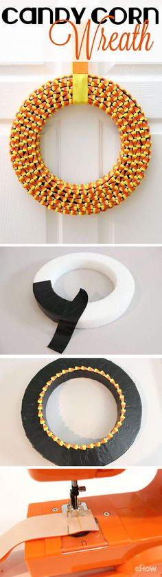 Decorating for Halloween is so much fun, and this candy corn wreath cheerfully welcomes visitors at the front door. Candy corn is very easy to craft with, and the bright colors really make this wreath festive. For an extra sweet touch, it's even finished off with a candy corn-colored ribbon.A trick that's a real treat! DIY instructions here: http://www.ehow.com/how_12341104_make-candy-corn-wreath.html?utm_source=pinterest.com&utm_medium=referral&utm_content=freestyle&utm_campaign=fanpage