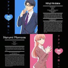 Hirotaka Nifuji x Narumi Momose / Wotaku ni Koi wa Muzukashii Koi, Hard To Love, Anime Love, Otaku, Kawaii, Manga, Characters, Galaxies, Amor