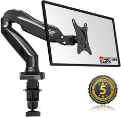 F80 Universal Articulating Gas Spring Desk Mount for 17'' - 27 MONITOR LED LCD Flat Panel TVs from 4.4lbs up to 14.3lbs