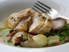 Pan-Roasted Chicken Breast with Baby Onions, Lardons and Mint Recipe