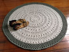 Doily crochet rug khaki and ecru mat upcycled от ChompaHandmade