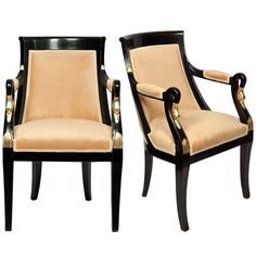 Pair of French Empire Ebonized Mahogany Armchairs Empire Furniture, My Furniture, Furniture Design, Modern Armchair, Modern Chairs, Antique Armchairs, French Empire, Mid Century Chair, Traditional Decor