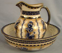Flow Blue Pitcher and Bowl Set, blue flowers, gold trim, pitcher, 12in. T, bowl, 16in. Dia., ca. 1885