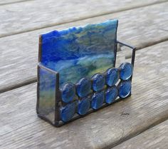 stained glass business card holder with blue by paintedlightglass cell phone holder business card holders - Cell Phone Business Card Holder