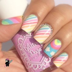 Rainbow nail art designs are very popular this season. Some women like rainbow nails. Rainbows may have different meanings in one's life. It can be a basic way to indicate life and its many stages of mental state. If you also like rainbow nails, lo Rainbow Nail Art Designs, Unicorn Nails Designs, Unicorn Nail Art, Cute Nail Designs, Nail Designs Spring, Tape Nail Art, Nail Art For Kids, Kawaii Nails, Pretty Nail Art