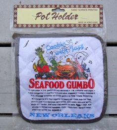 vintage potholder new orleans seafood gumbo recipe