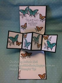 Stampin' it up with Belinda: Pop up panel card- Featuring Papillon Potpourri, No Bones about it & Swirly Bird.