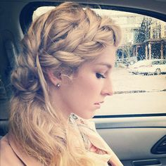 My braid and makeup for our garden party by Jessica Belknap. wedding hair, make up, braid, blonde hair, fashion, style.