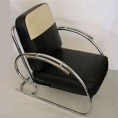 Art Deco chrome | Streamline Moderne Art Deco Tubular Chrome Chair at 1stdibs