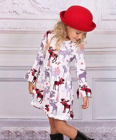 Liv & Mia Gray & Burgundy Moose Fit & Flare Dress - Toddler & Girls | zulily