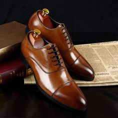 Handcrafted Oxford Leather Stitch Cap Mens Semiformal Shoe Brown