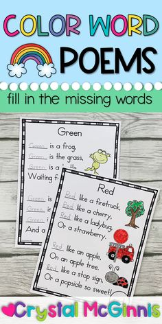 10 Color Word Poems for Shared Reading